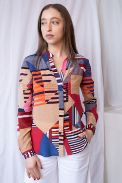 Diane von Furstenberg Abstract Printed Silk Shirt