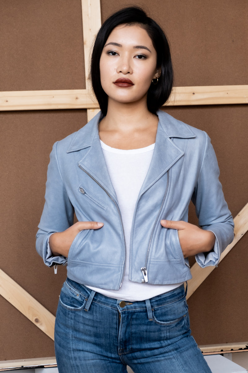 Veda Cropped Blue Leather Jacket