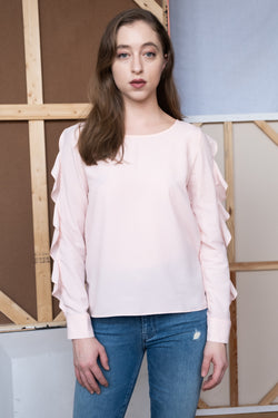 Maje Pink Ruffled Top