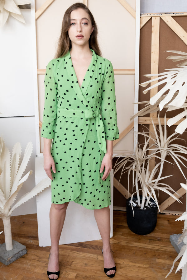 Ganni Polka Dot Wrap Dress