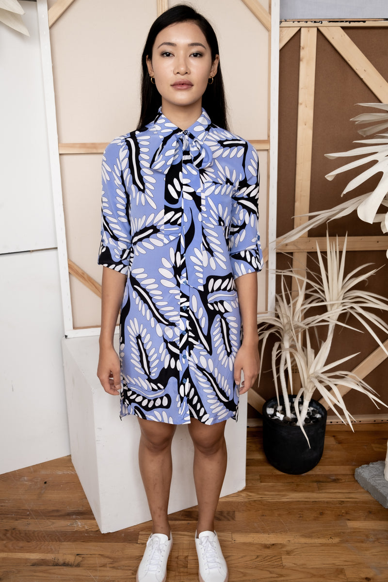 Diane Von Furstenberg Leaf Print Silk Shirt Dress