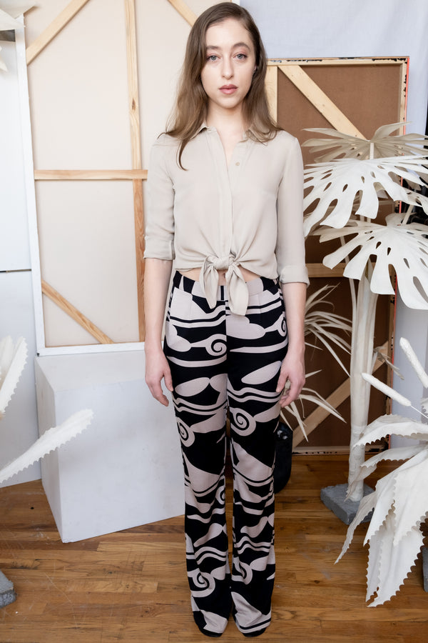 Diane Von Furstenberg Black and Beige Printed-Silk Pants