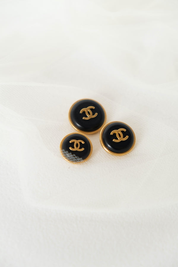 Chanel, Set of 3 Vintage Black & Gold Buttons