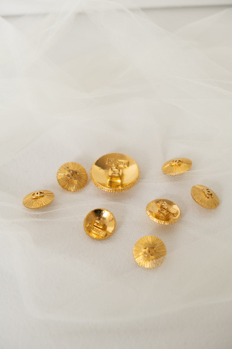 Chanel, Set of 8 Vintage Gold Sunburst Buttons