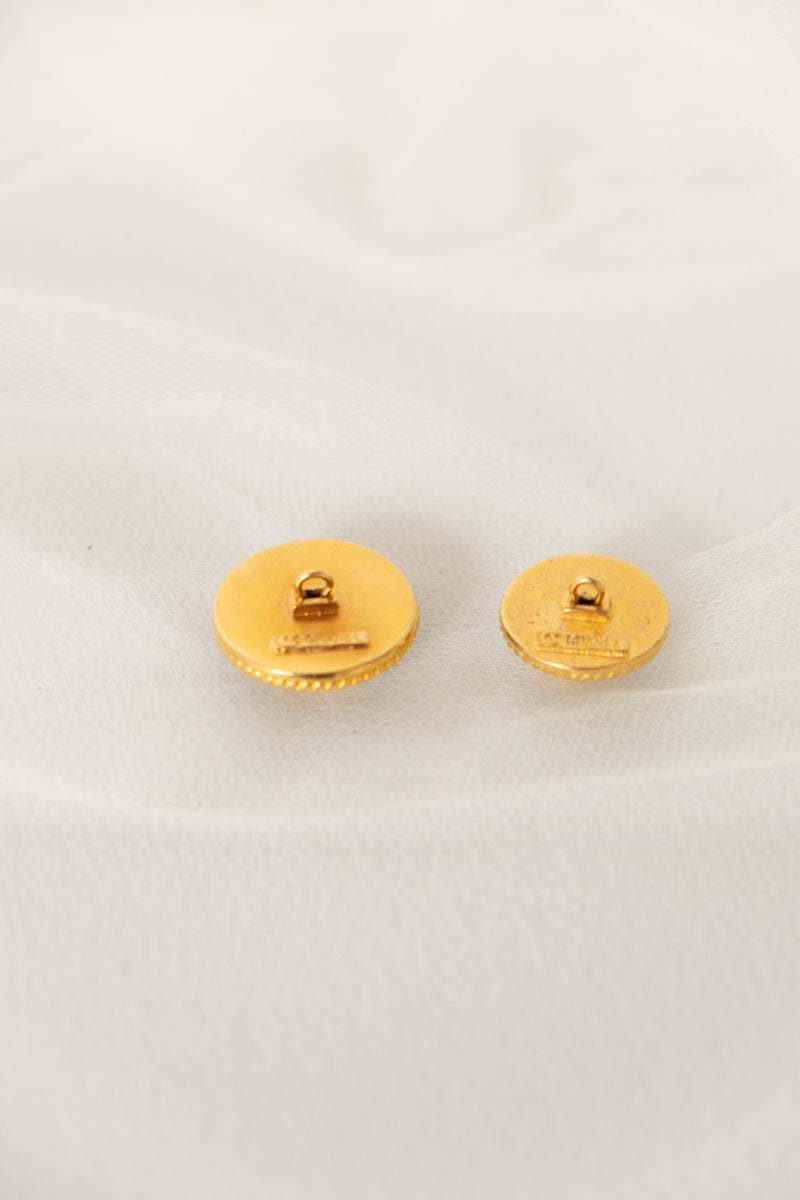 Chanel, Set of Two Vintage Black & Gold Buttons