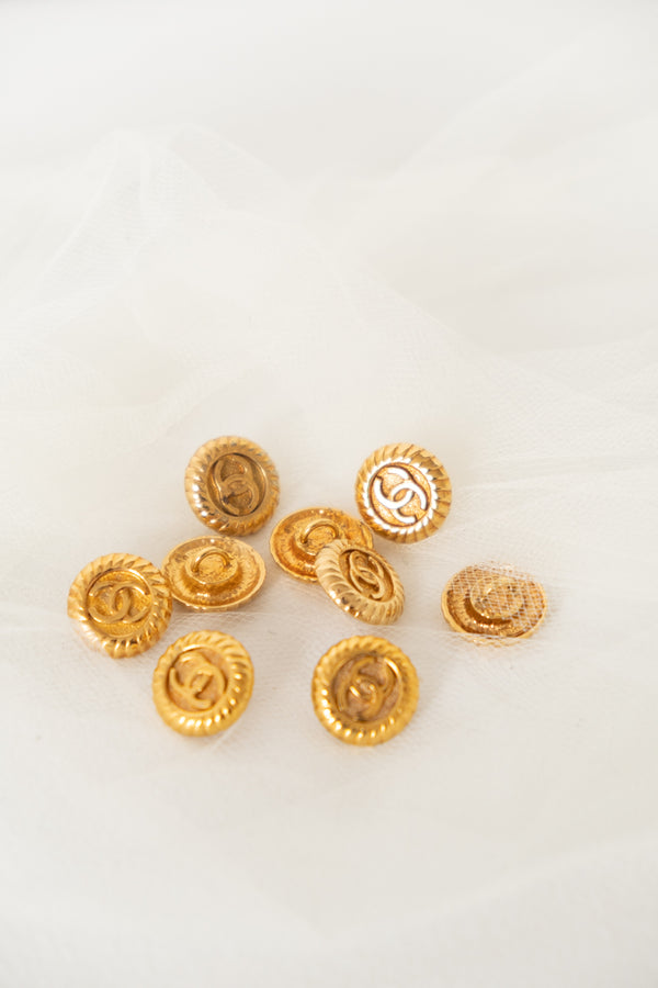 Chanel, Set of 9 Vintage Small Logo Buttons