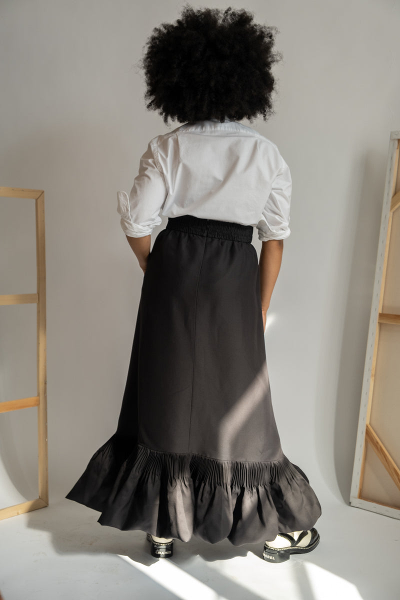 Valentino 'Le Noir' Ruffle-Trimmed Silk Maxi Skirt | New with tags (Est. retail $2,990)