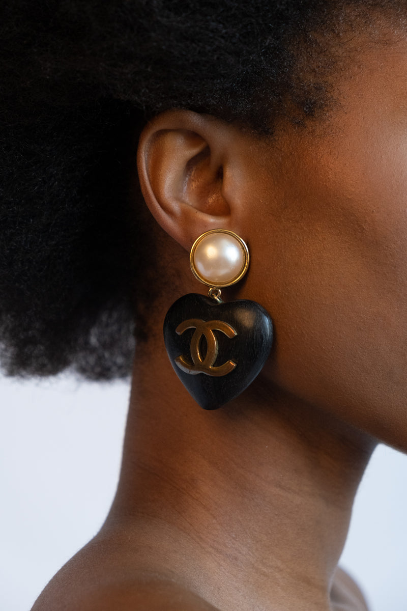 Vintage Chanel Ebony Wood Heart Earrings
