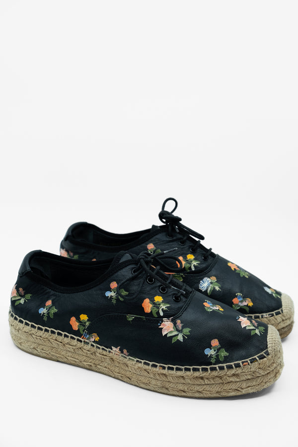 Saint Laurent Floral Leather Espadrilles (Est. retail $700)