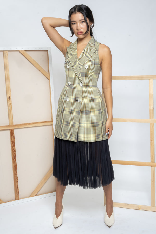 Adeam Check and Pleated Chiffon Vest