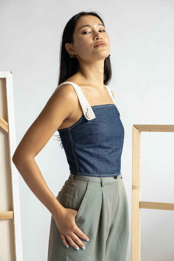 Edun Denim Cropped Tank Top