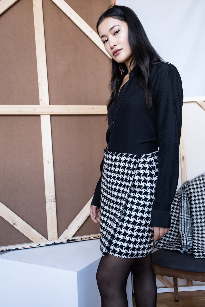 Christian Dior Houndstooth Wrap Skirt