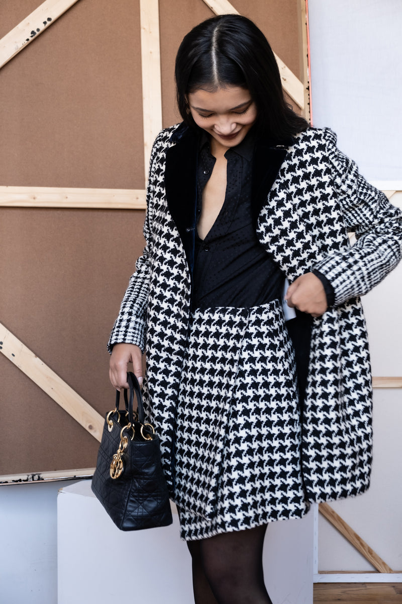 Christian Dior Houndstooth Wool Coat
