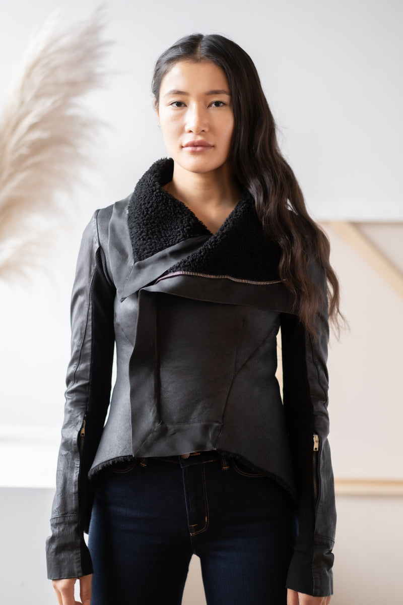 Rick Owens Shearling-Lined Leather Jacket