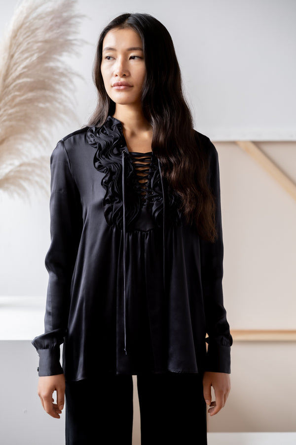 Givenchy Lace Up Silk Blouse