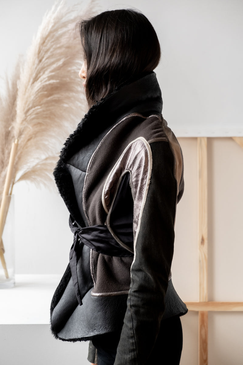 Rick Owens Shearling Patchwork Jacket