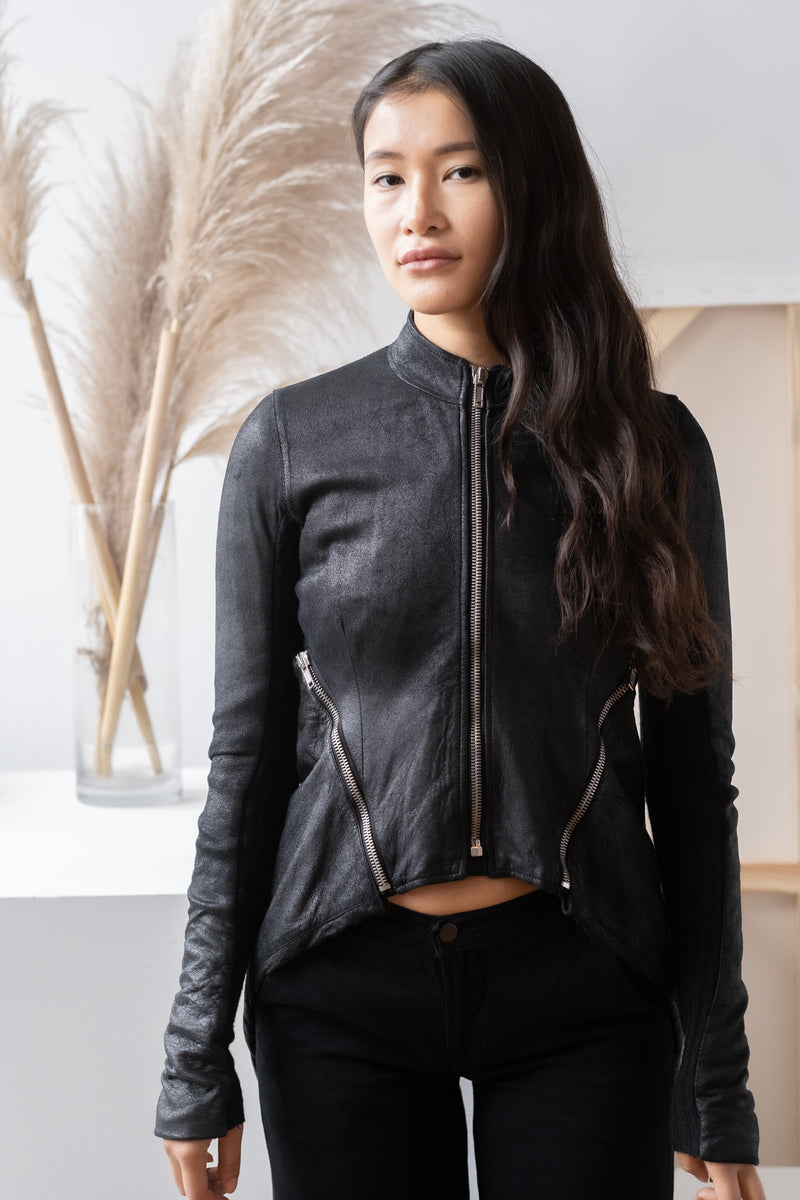 Rick Owens Draped Leather Jacket