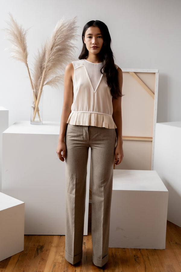 Chloé Wide Leg Wool and Cashmere Pants