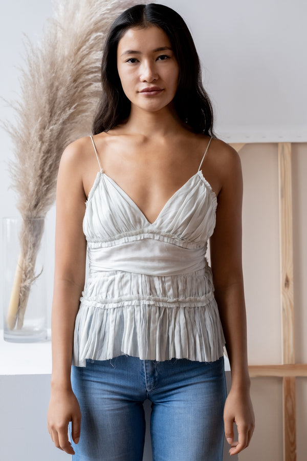 Chloé Box Pleat Cotton and Silk-Blend Camisole