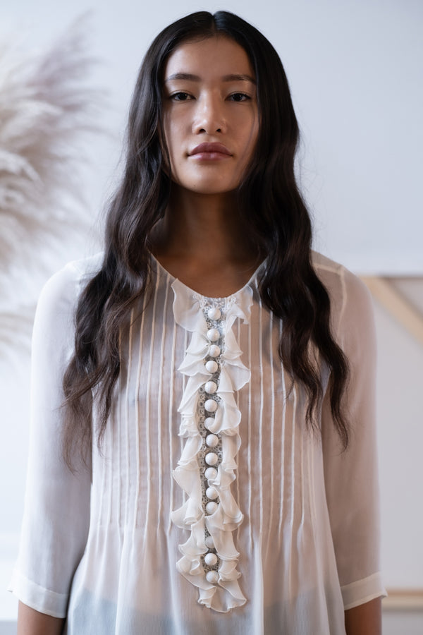 Chloé Ruffle Front Silk Blouse