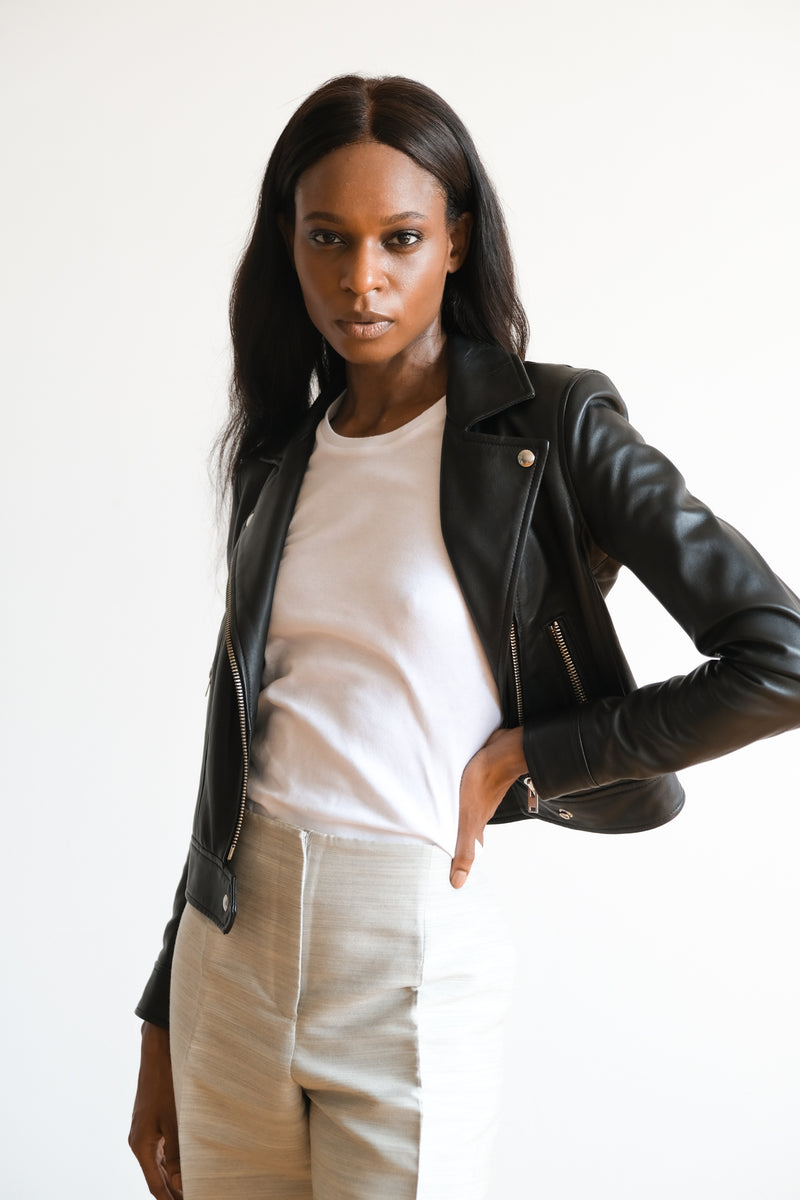 IRO Cropped Leather Moto Jacket