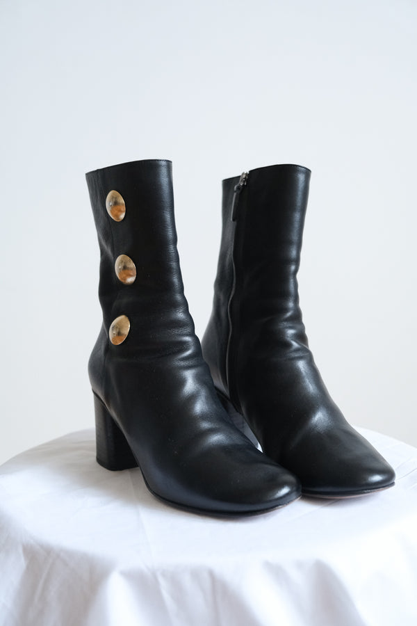 Chloe Black Booties with Gold Buttons