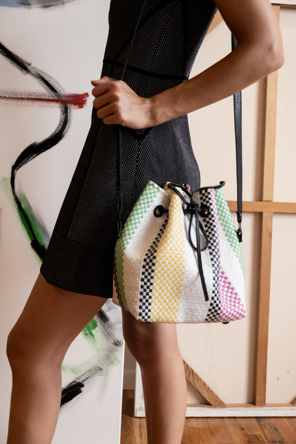 Truss Woven Raffia-Effect Bucket Bag (Est. retail $295)