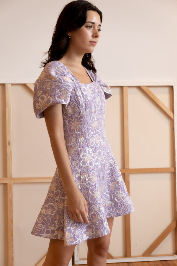 ROTATE Birger Christensen Petra Off-The-Shoulder Floral-Jacquard Mini Dress | New with tags (Est. retail  $295)