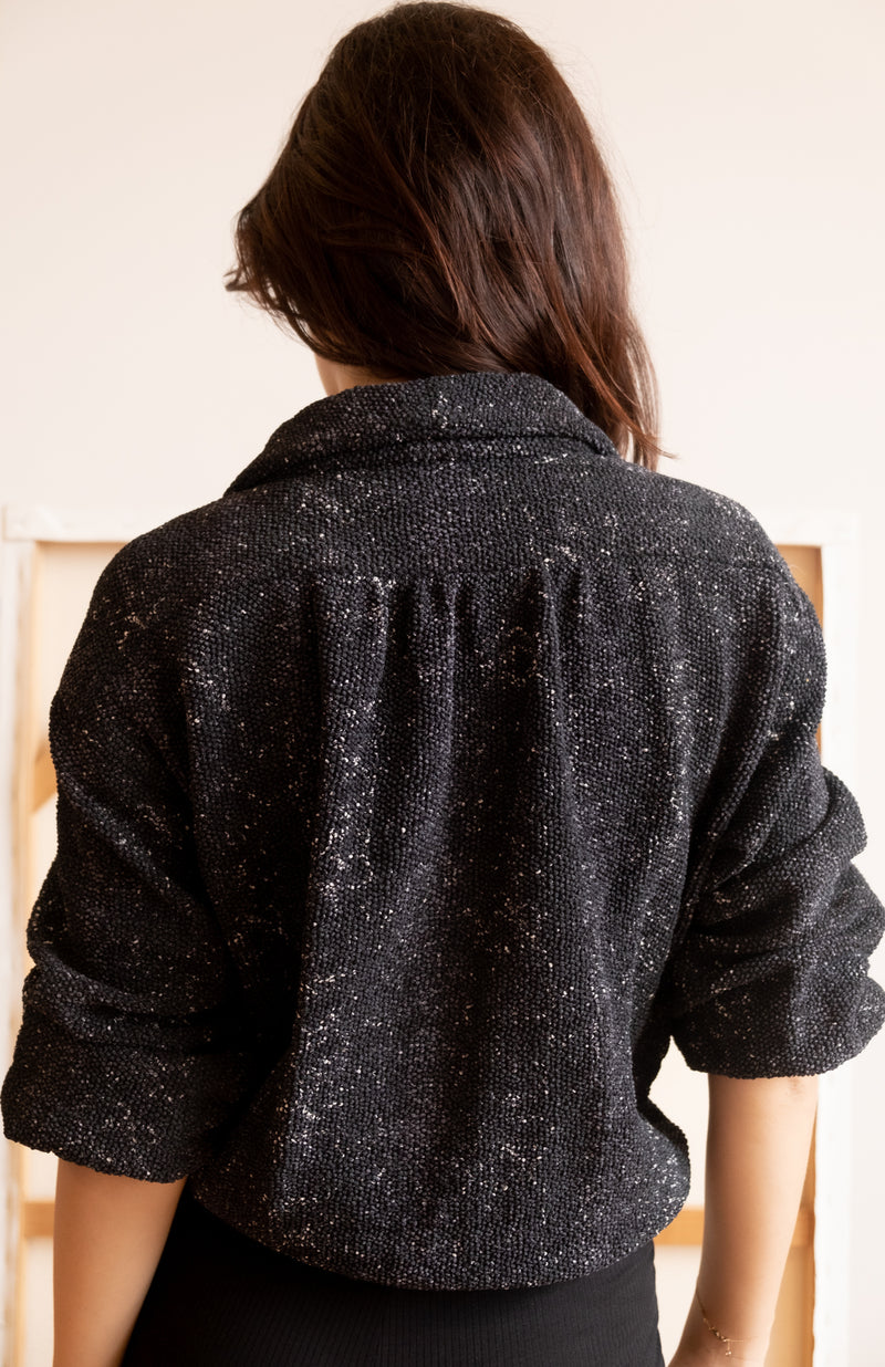 Chanel Black And White Tweed Bomber Jacket