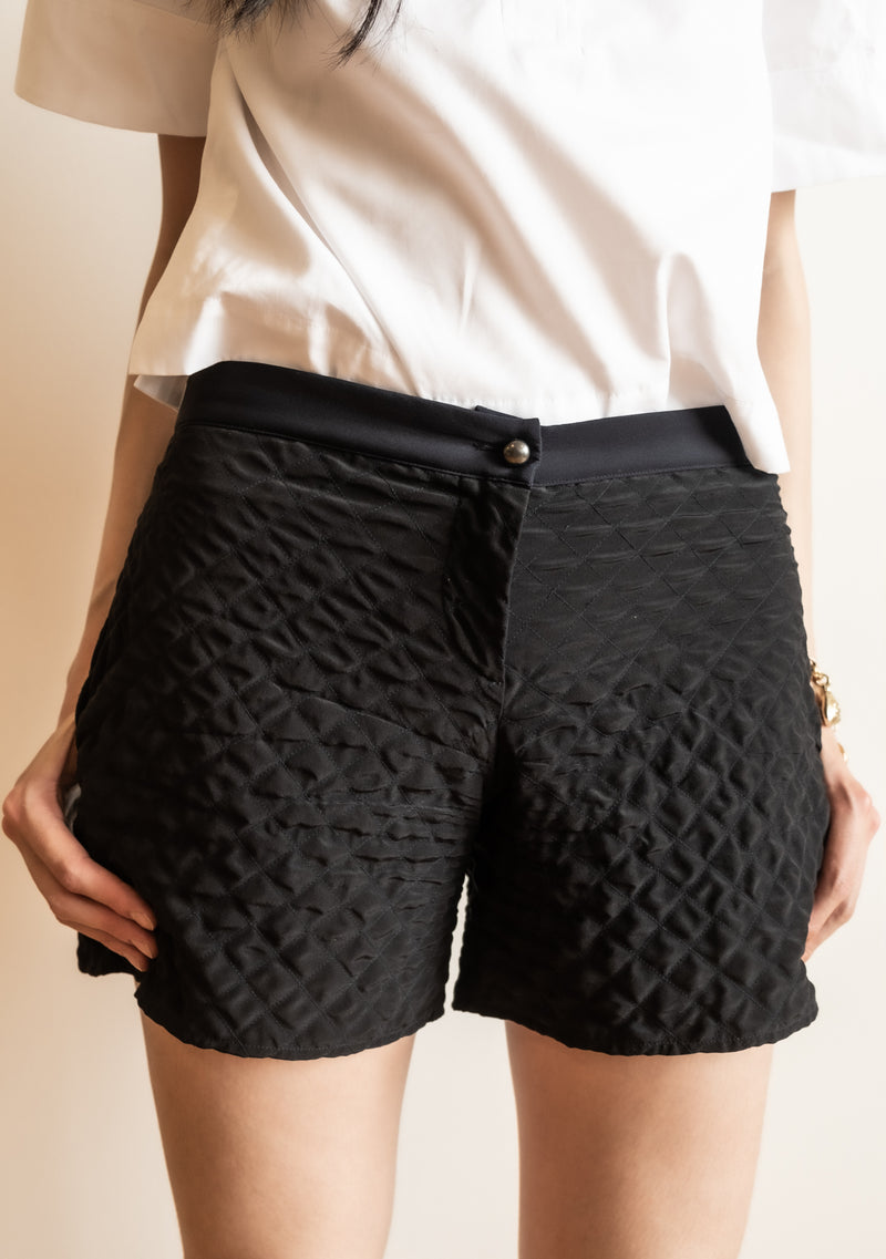 Chanel Black Quilted Silk Shorts