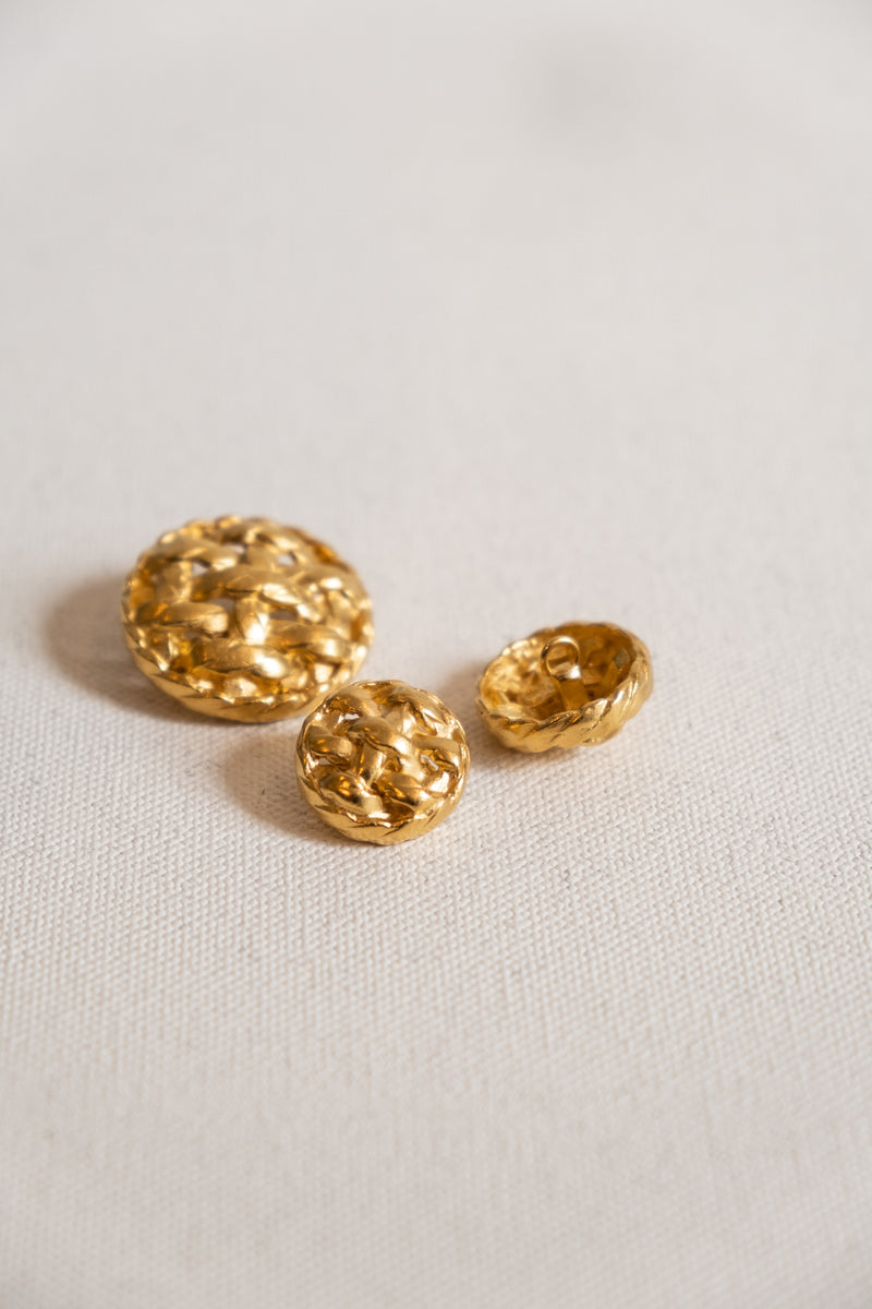 Chanel, Set of 3 Gold Weave Vintage buttons
