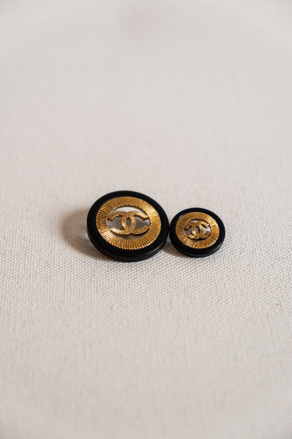 Chanel, Set of 2 Vintage Black and Gold CC Buttons