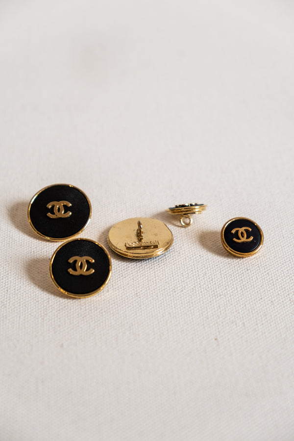 Chanel, Set of 5 Gold and Black Vintage Buttons