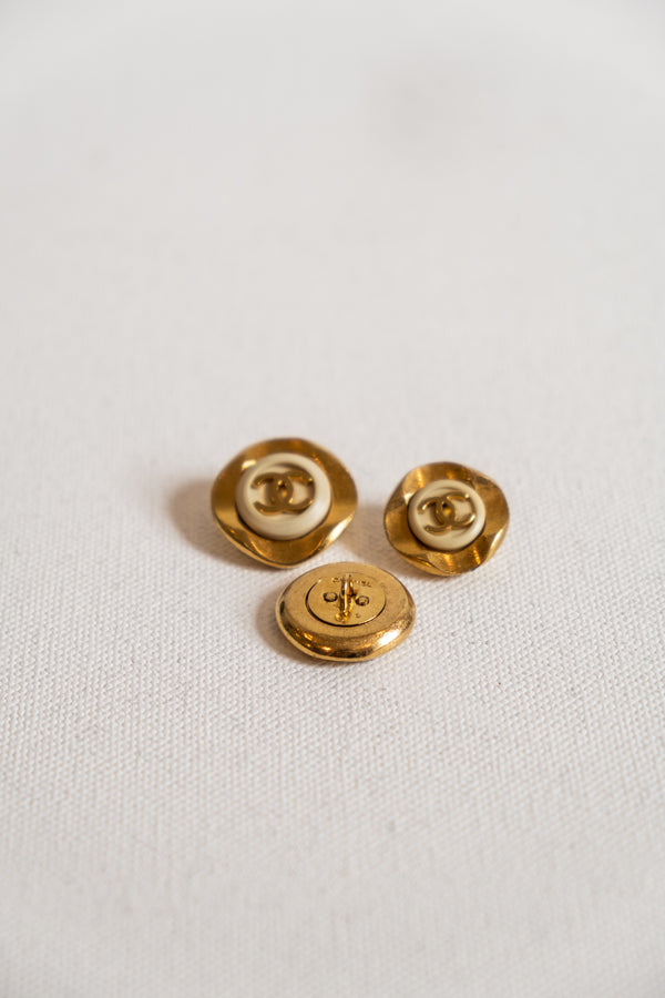Chanel, Set of 3 Vintage Gold and Resin CC Buttons