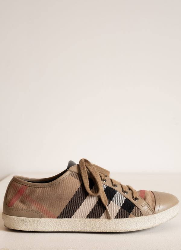 Burberry Plaid and Leather Sneakers