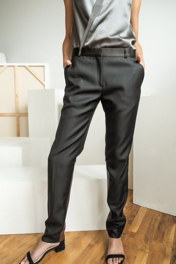 Celine Wool Trousers with Leather Inset