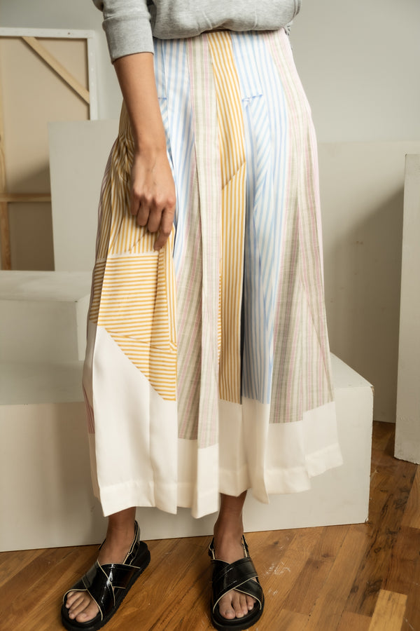 Victoria Beckham Striped Silk-Crepe Midi Skirt (est. retail $1,850)