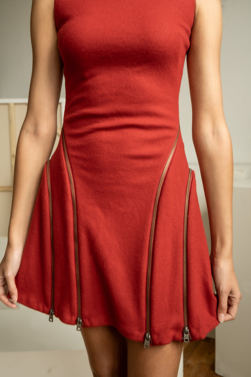 McQ Alexander McQueen Red Wool Dress