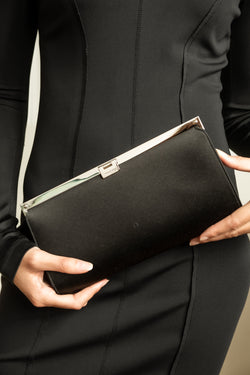 Jimmy Choo Black Satin Clutch