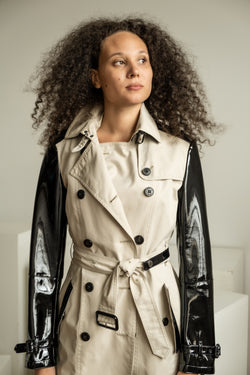 Burberry Patent Sleeve Trench Coat (est. retail $1,895)