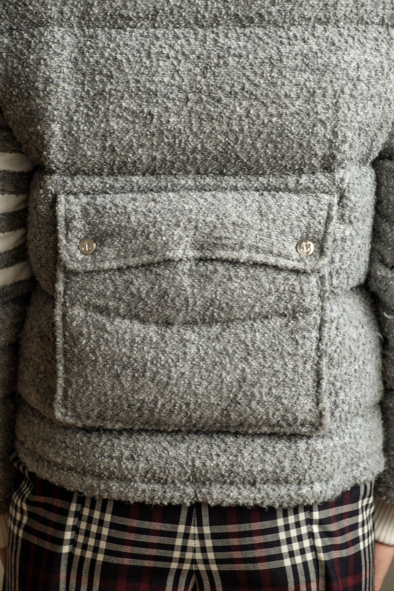 Thom Browne Down Grey Boucle Wool Jacket