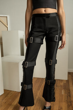 Alexander McQueen 3- Buckle Wool Pants (est. retail $2,545)