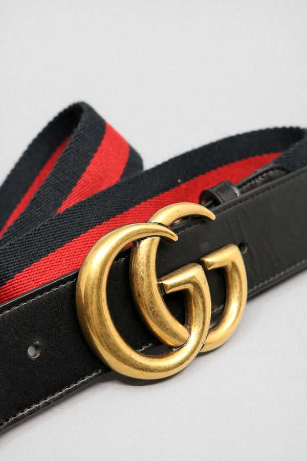 Gucci Nylon Web Belt with Double G Buckle(Est. Retail $450)