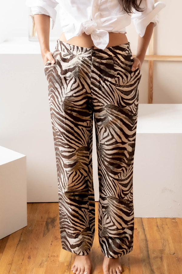 F.R.S. For Restless Sleepers Zebra-Print Brocade Pants