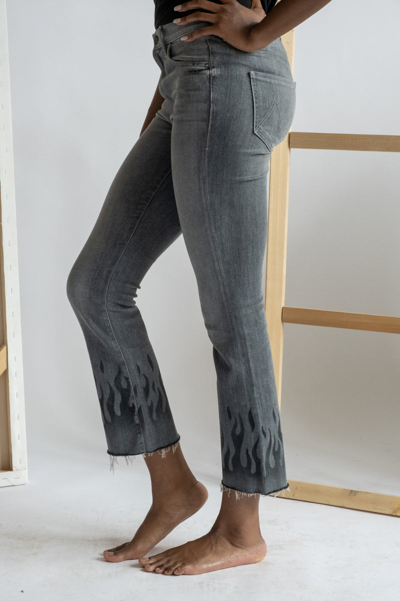 MOTHER Denim Cropped Flame Print Jeans