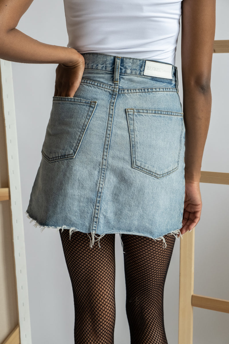 RE/ DONE Acid Wash Denim Skirt