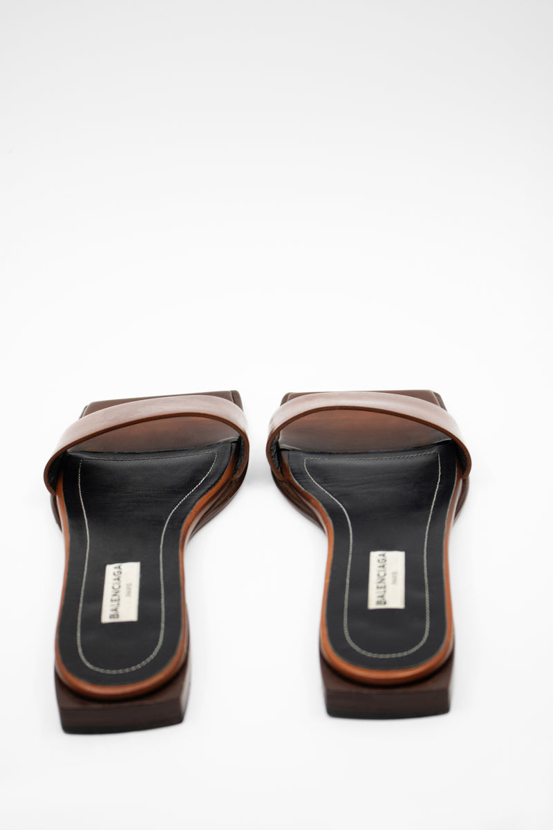 Balenciaga Square Toe Slide Sandals