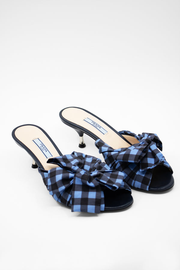 Prada Gingham Slide Sandals