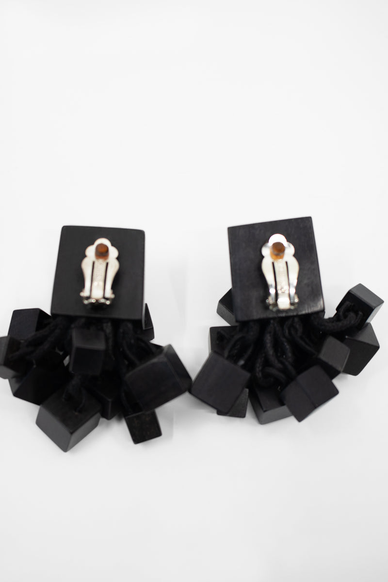 Monies Clip-On Ebony Wood Earrings