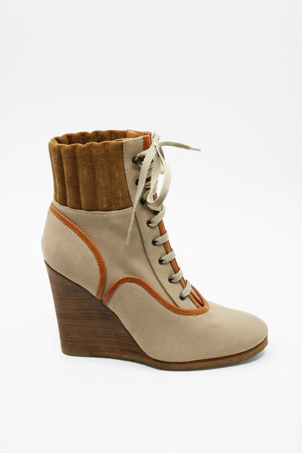 Chloé 'Mountain' Canvas and Suede Boots (Est. retail $650)
